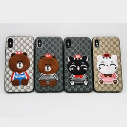 Wholesale Fall Bear - New Embroidered Bear Flamingo All-inclusive Anti-fall Button Protection TPU Soft Case For iPhone x 8 7 plus Retail Package Free Shipping