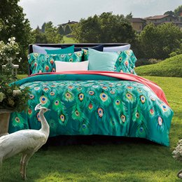 Wholesale Bedspread Cotton Satin - Luxury 60S cotton bed linen green white satin bedding set bedspread queen king size Peacock duvet cover sheet set 4pcs