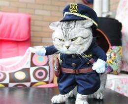 uniformes policiales Rebajas Halloween Cat Lovely Cloth Uniform Police Installation Artículos para mascotas Ropa Plegable Sombrero Exquisita Moda Decoración Portátil Ropa 25cg JJ