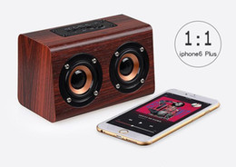 spdif speakers Coupons - DHL W7 Wooden bluetooth speaker dual speaker support micro sd card TF card Speaker size W150*D85*H75mm