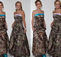 Wholesale cheap blue strapless dresses - 2018 Camo Bridesmaids Dresses Strapless A Line Floor Length Long Beach Garden Country Prom Party Wedding Guest Gowns Cheap