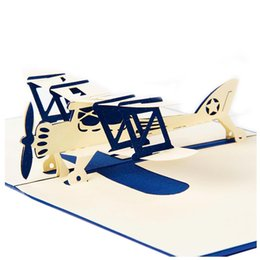 Wholesale Laser Cut Cards Holiday - UESH-3D laser cutting pop up holiday happy birthday card gift postcard airplane model blue