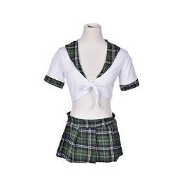 Wholesale Sexy School Girl Uniforms - ostume women JETTING-2Pcs Set Sexy Students School Girl Uniform Role Play Costumes Women Girl Plaid Cosplay Clothing Adults Halloween Clo...