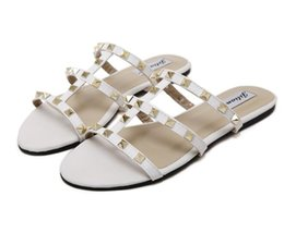 Wholesale Vacation Sandals - Women slippers Summer Luxury classic fashion brand sexy Openwork rivet Genuine Leather plus size flats seaside Beach vacation sandals