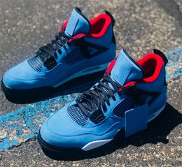 Wholesale New Basketball Shoe Releases - 2018 New Release Travis 4 Houston 4S Cactus Jack IV Blue Basketball Shoes Limited Sneakers Real Quality 308497-406 Free Shipping