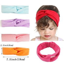Wholesale Turban Twist Headwrap - Twisted Cotton Turban Headband For Baby Children Girl Soft Hot children's Headwear Toddler Headwrap stretchy Hairband