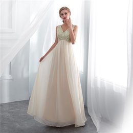 Wholesale maternity wedding guest dresses - Real Image 2018 Chmapgne Sequins Bridesmaid Dresses V Neck Floor Length Maid Of Honor Wedding Guest Gown Cheap In Stock 2-16