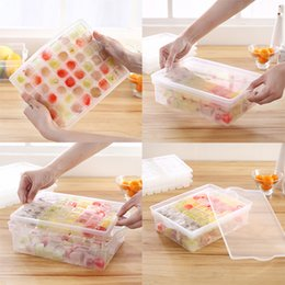 Wholesale rubber marker - 48 Grids Ice Cube Tray Mold Multi -Function Ice Cream Markers With Storage Box And Cover -Transparent