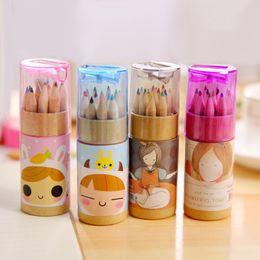2019 caixas de lápis coloridas por atacado Lápis de cor 12 Colorido Conjunto De Desenho Para Crianças Crianças estudante Lápis de Cor Escrita Criativa Ferramentas 12 cores por lote