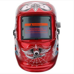 solar helmets Promo Codes - Wholesales Welding Helmets Solar Powered Auto Darkening Welding Helmet Skull Pattern Red & Black & White Soldering Industrial Supplies & MRO