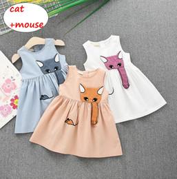 E il mouse blu online-Baby Girl Cartoon dress Kids Girl Abito estivo senza maniche Cat mouse stile Infant Candy colot Dress