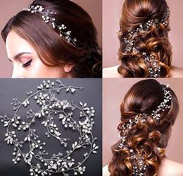 2019 vendre la ligne des cheveux De mariée demoiselle d'honneur en argent à la main strass perle bandeau bandeau de luxe accessoires de cheveux