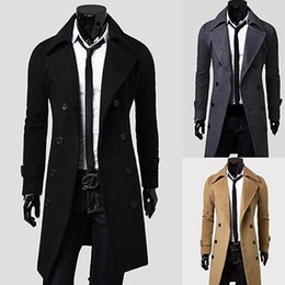 Wholesale Men S Dust Coat - Wholesale- Men's Fashion Double-breasted Briefness Dust Coat Casual Slim Fit Long Outer Wear New Arrival