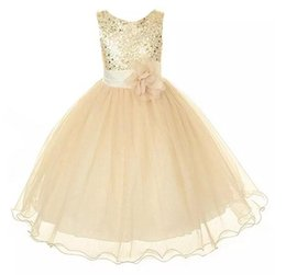 Wholesale Sequin Chiffon Kids Dress - New Style Girl Dress Cute Sequin Sleeveless Vest Princess Lace Dress Baby Kids Party Wedding Bridesmaid Vestido B11