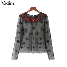 Wholesale Transparent Sexy Blouses - Vadim geometric embroidery sequined mesh shirts sexy see through transparent black long sleeve blouse female tops blusas LT2368
