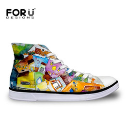 Wholesale Orange Canvas Paintings - FORUDESIGNS High Top Women's Vulcanized Shoes 3D Painting Printing Autumn Casual Canvas Shoes Woman Ladies Leisure Mujer