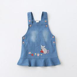Wholesale Kids Pocket Dress - Everweekend Kids Girls Summer New Embroidery Korean Denim Fashion Suspender Dress Strawberry Mouse Buttons Pockets Dress