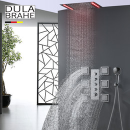 Wholesale Large Waterfall Shower Heads - Bathroom Shower Faucet Set Large Water Flow Thermostat Shower Mixer Valve Rain Waterfall LED Shower Head 6 Pcs Massage Body Jets