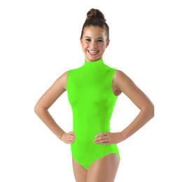 Wholesale Gymnastics Leotards For Girls - Ensnovo Women Dance Costumes Dancewear Gymnastics Leotards for Girls Lycra Nylon Face Bodysuit for Women Black Sleeveless Suits