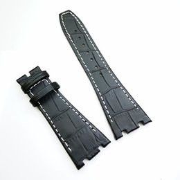 leather strap stitched Promo Codes - 26mm   18mm Black luxury high quality Calf Leather White Stitch Strap Band for AP AudemarsPiguet Royal Oak