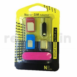 2019 convertidor tarjeta iphone sim Nueva tarjeta Nano SIM de metal 5 en 1 / Tarjeta micro SIM / Adaptador convertidor estándar sim para iPhone 6/5 / 4S / 4 cell con Expulsar Pin con minorista convertidor tarjeta iphone sim baratos