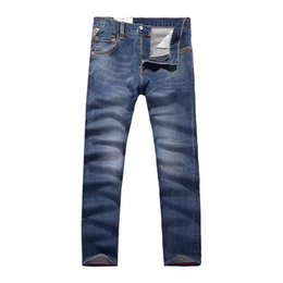 Джинсы для мужчин онлайн-Vomint 2018 New Brand Men's Casual Jeans Elasticity Cotton Fabric Spliced Details Dark Wash Quality Jeans for Male GY7079