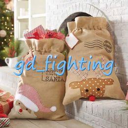 Wholesale ornament candles - 2018 Christmas Large Canvas Monogrammable Santa Claus Drawstring Bag With Reindeers Monogramable Christmas Gifts Sack Bags