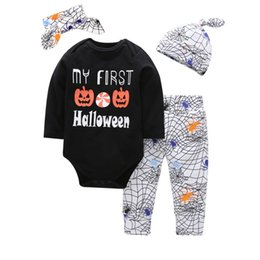 hats short hair Coupons - Boys INS Halloween set 2018 new Children pumpkin spider long sleeve t shirt + trousers+hat+hair band 4 pieces set suit Baby clothing B001