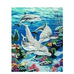 números frameless da pintura da imagem Desconto Sem moldura Dolphin Animal Iy Pintura Pelo Número Da Arte Da Parede Imagem Pintura Por Número Da Lona Pintura Para Home Decor Artwork