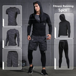 Wholesale Tight Clothes Sets - Brand Running Set 2018 Mens Sports Suits Fitness Training Sportswear Compression Tights Basketball Jogging Suits Gym Clothes