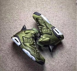 Wholesale M Live - Air 6 Flight Jacket Pinnacle Basketball Shoes Saturday Night Live Nylon Army Green sneakers AH4614-303 With Original Box
