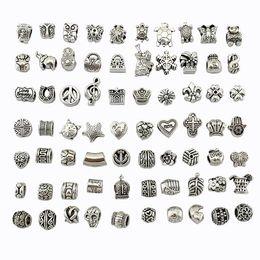 Mescolare 70 stili perline argento antico placcato lega grande foro di fascini perline distanziatore fit pandora braccialetto gioielli fai da te collane pendenti da