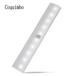 Wholesale Ir Motion Detectors - 10 LED Battery Recharging Wall Lamp Cabinet Wardrobe Light IR Infrared Motion Detector Wireless Sensor Lighting Closet Lights