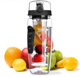 Wholesale fruit water infuser - 32oz Fruit Infuser fruit Bottle water bottle juice Fruit Infusing Infuser Water Bottle Sports Camping Bottles KKA4251