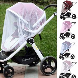 Wholesale blue shield covers - 4 colors Baby Stroller Mosquito Net Insect Shield Infant Protection Mesh Buggy Cover Children Pushchair Cart Mosquito Netting AAA533