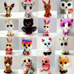 Wholesale Children Animal Beanies - Ty Beanie Boos Plush Stuffed Toys 15cm Wholesale Big Eyes Animals Soft Dolls for Kids Birthday Gifts ty toys for children