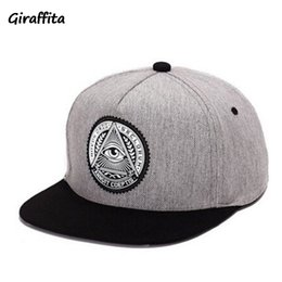 Wholesale Snapback Plastics - Giraffita 5 panels cotton snapback 3d god eyes plastic patch mens flat brim baseball cap hip hop hat and cap for men and women