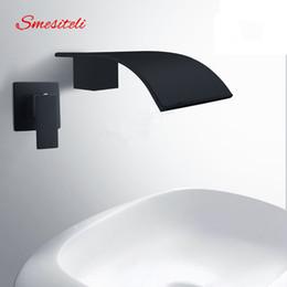 Wholesale Black Faucet Bath - Smesiteli Wholesale And Promotions Wall Waterfall Bath Spout Basin Diverter Mixer Tap Brass Square Faucet Matte Black Finish