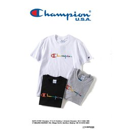Wholesale Champions Brand - 2018 New Brand Summer Rainbow embroidery Cotton T-shirt Champion KITH Casual Short Sleeve Tees Shirt Free Shipping