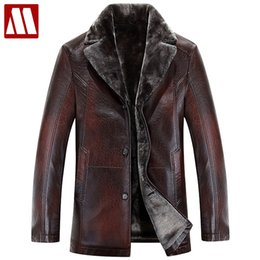 Wholesale mens wool coat leather sleeves - Men leather jacket Winter plus Velvet thick Warm Motorcycle Coat Business Windbreaker Casual Mens Leather Jackets coats big size