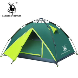 Wholesale Blue Hydraulics - GAZELLE 3-4 person camping tent Waterproof Double Layer hiking large family tents High Mountain Outdoor Hydraulic Tent