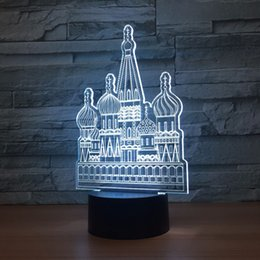 Wholesale Russian Eggs - Russian Castle 3D Optical Illusion Lamp Night Light DC 5V USB Powered AA Battery Wholesale Dropshipping Free Shipping
