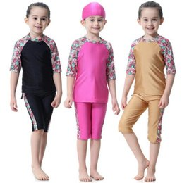 Wholesale modest islamic swimwear - 3 colours Muslim Arab Girls Modest Swimwear Kids Swimsuit Islamic Swimming Costume