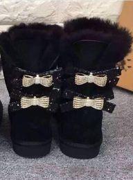 bottes de neige de diamant Promotion Livraison gratuite Australie classique WGG simple double diamant Neige bottes femme hiver en cuir arc strass couronne chaude épaisse Coton chaussures