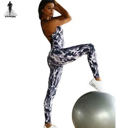 order paintings Promo Codes - YANQIN Tracksuit for Women Camouflage Fitness Yoga Set Painting Print Running Set Back Cross Bandage Sportwear Gym Sports
