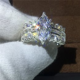 Wholesale Marquise Wedding Sets - Luxury Jewelry Marquise Cut 5ct Diamonique Cz 925 Sterling silver Engagement wedding band ring for women Love gift