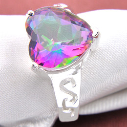 Wholesale Rainbow Heart Party - 10 Pieces 1 lot Nice Classic Shine Fire Rainbow Mystic Topaz Gems 925 Sterling Silver Rings Russia American Australia Weddings Rings Gift