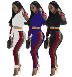 cropped blue leggings Coupons - brand designer women crop top leggings two Piece set tracksuit striped letter sweatshirt tights outfits sweat pants sportswear track suit