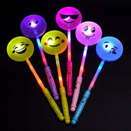 Wholesale Glow Sticks Rave Wholesale - Light Up Multi Color LED Smile Face Emotional Stick Wands Rally Rave Cheer Batons Party Flashing Glow Stick ZA5658