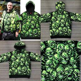 Wholesale Ghost Skeleton - SP Green Ghost 18ss Week1 Skull Pile Sweartshirt Noctilucent Green Men And Women Skeleton Hoodie Sweater HFWPWY064